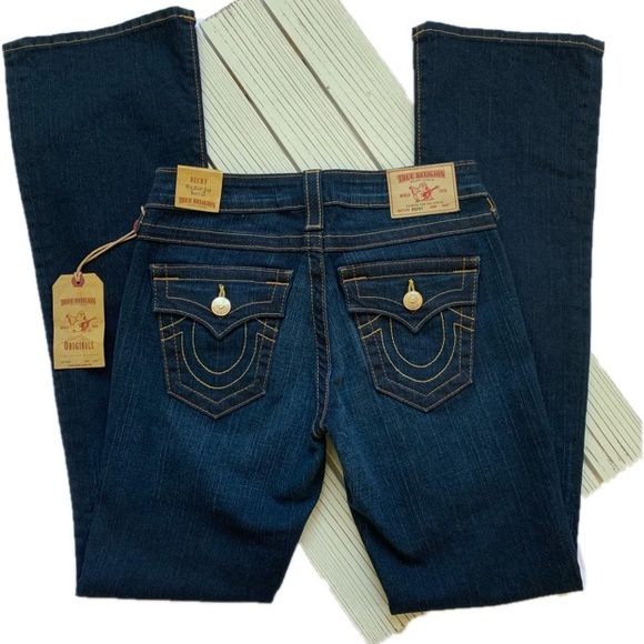 True Religion Denim - True Religion Becky Mid Rise Flap Bootcut Jeans